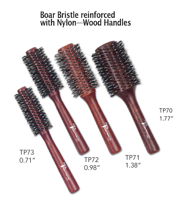Boar Bristle Brushes Reinforced With Nylon Wood Handles